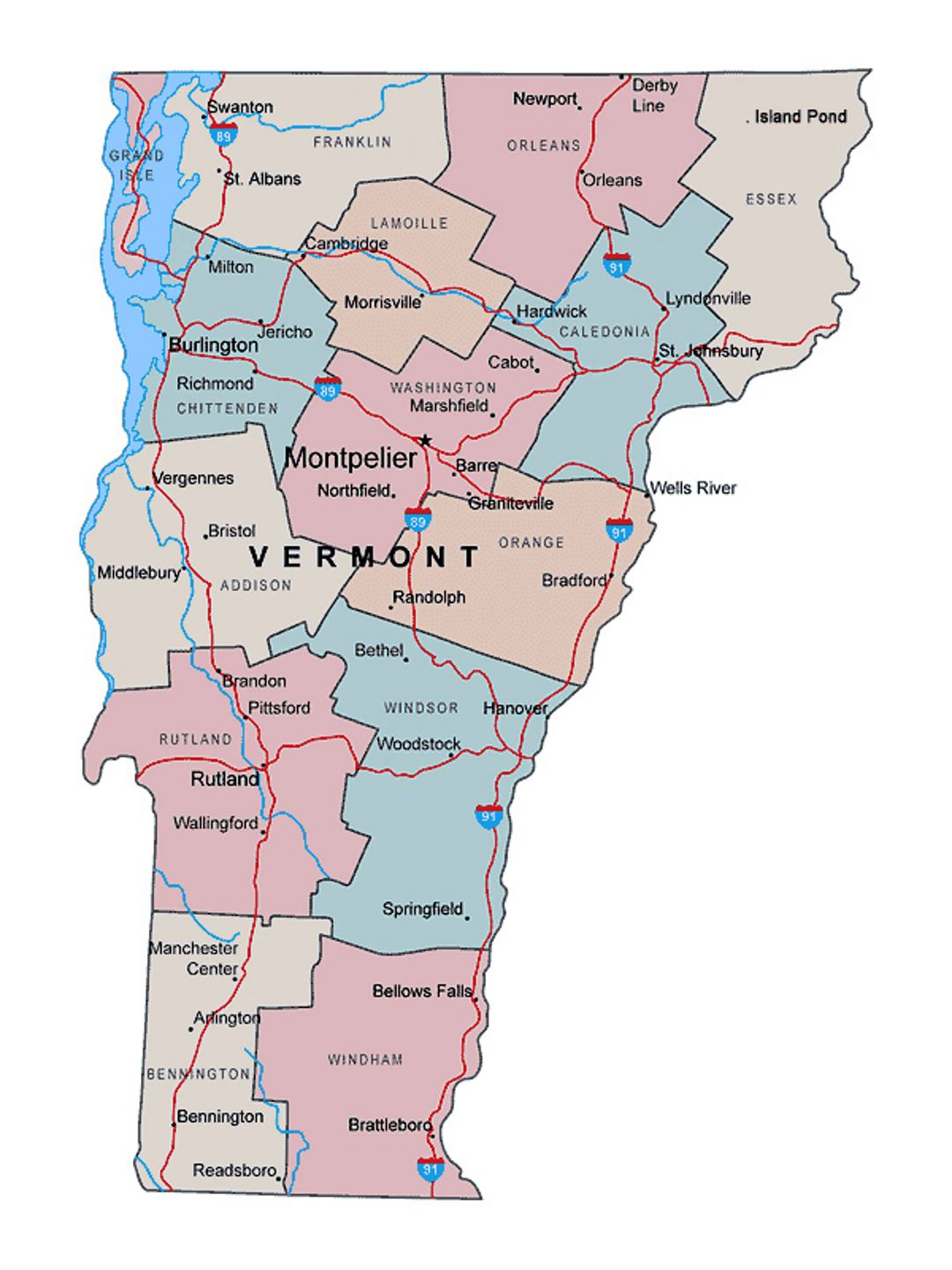 Map Of America Vermont.Administrative Map Of Vermont State With Major Cities Vermont