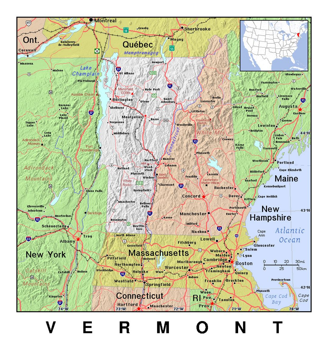 Detailed map of Vermont state with relief | Vermont state | USA ...