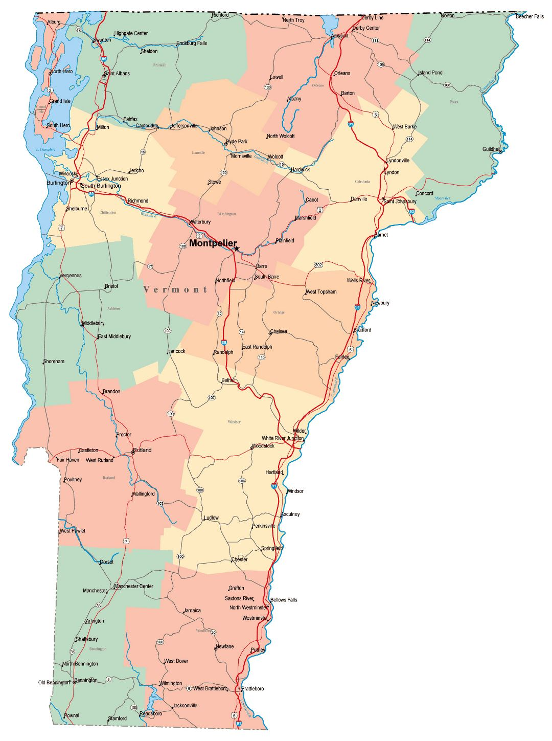 Large administrative map of Vermont state with roads, highways and cities
