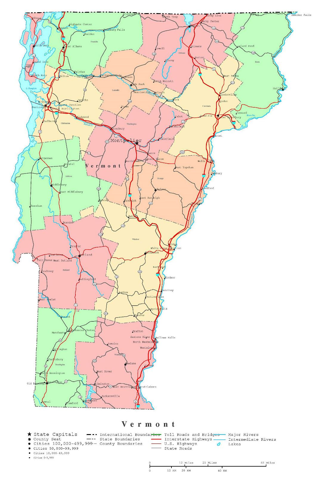 Large detailed administrative map of Vermont state with roads, highways and cities