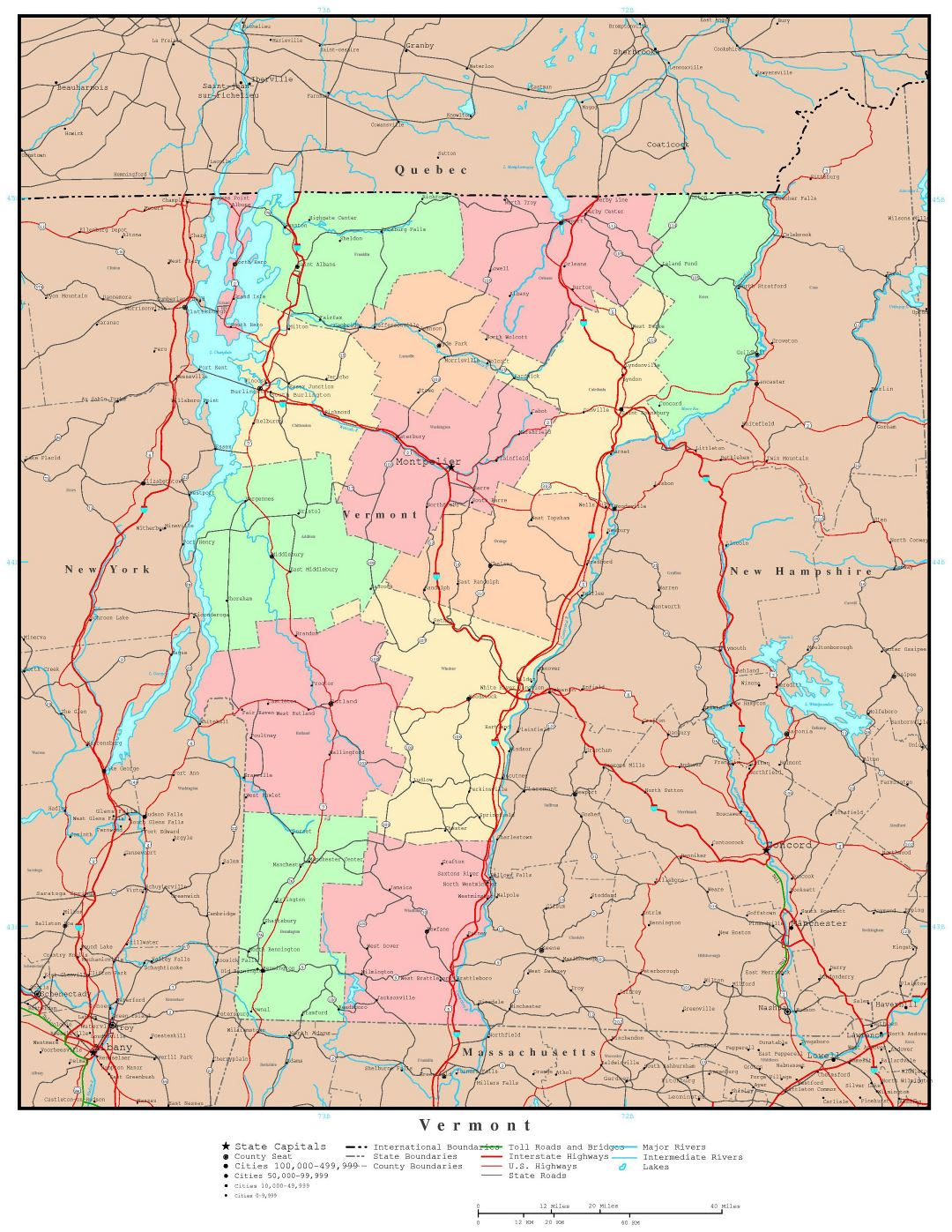 Large detailed administrative map of Vermont state with roads, highways and major cities