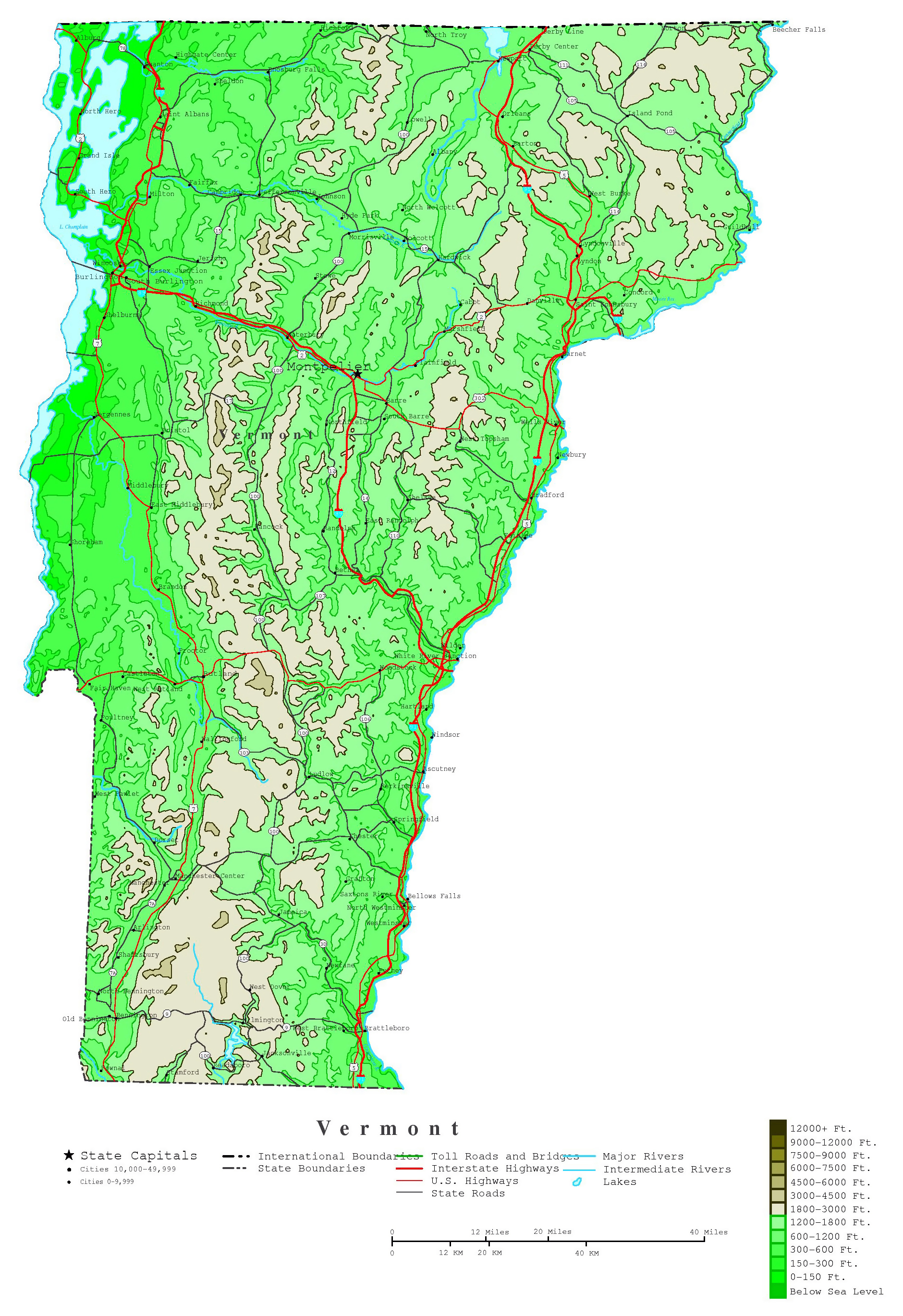 large detailed elevation map of vermont state with roads highways and cities