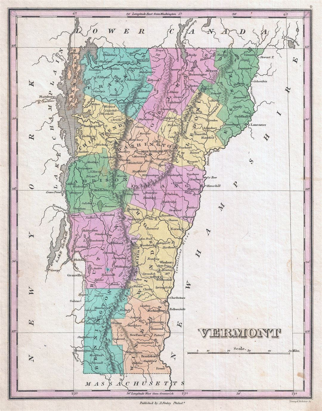 Large detailed old administrative map of Vermont state with relief and other marks - 1827