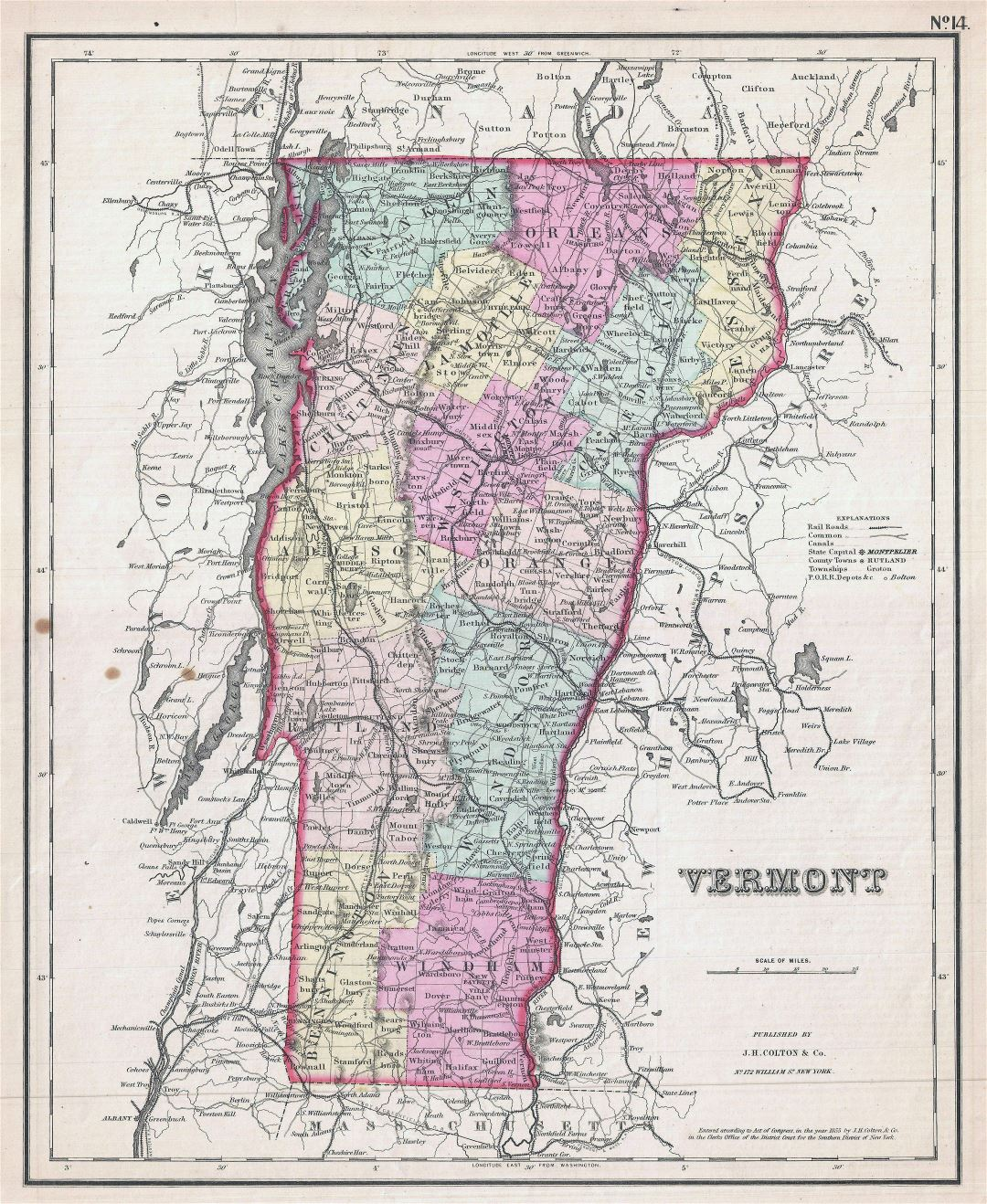 Large detailed old administrative map of Vermont state with relief, roads, cities and other marks - 1857