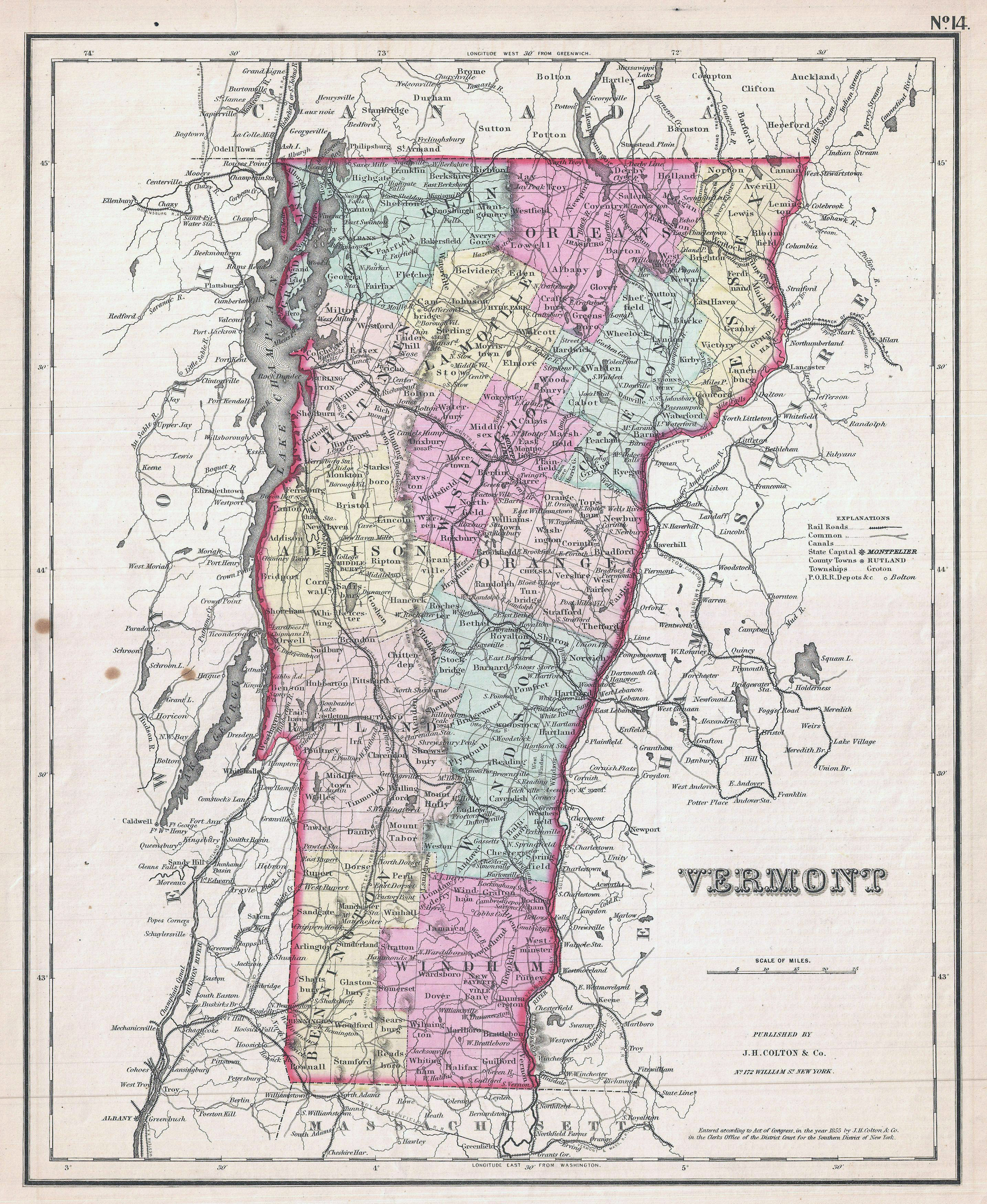 Large detailed old administrative map of Vermont state with ...