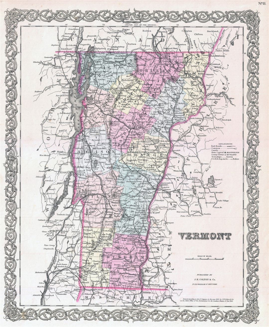 Large detailed old administrative map of Vermont state with relief, roads, railroads and cities - 1855