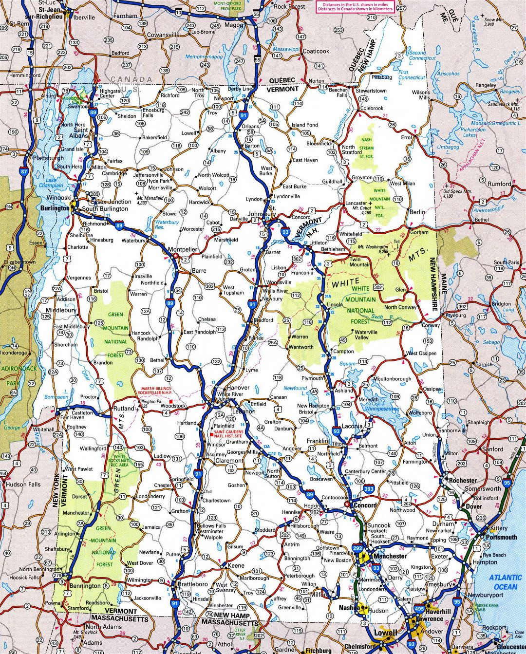 Large detailed roads and highways map of Vermont state with all cities and national parks