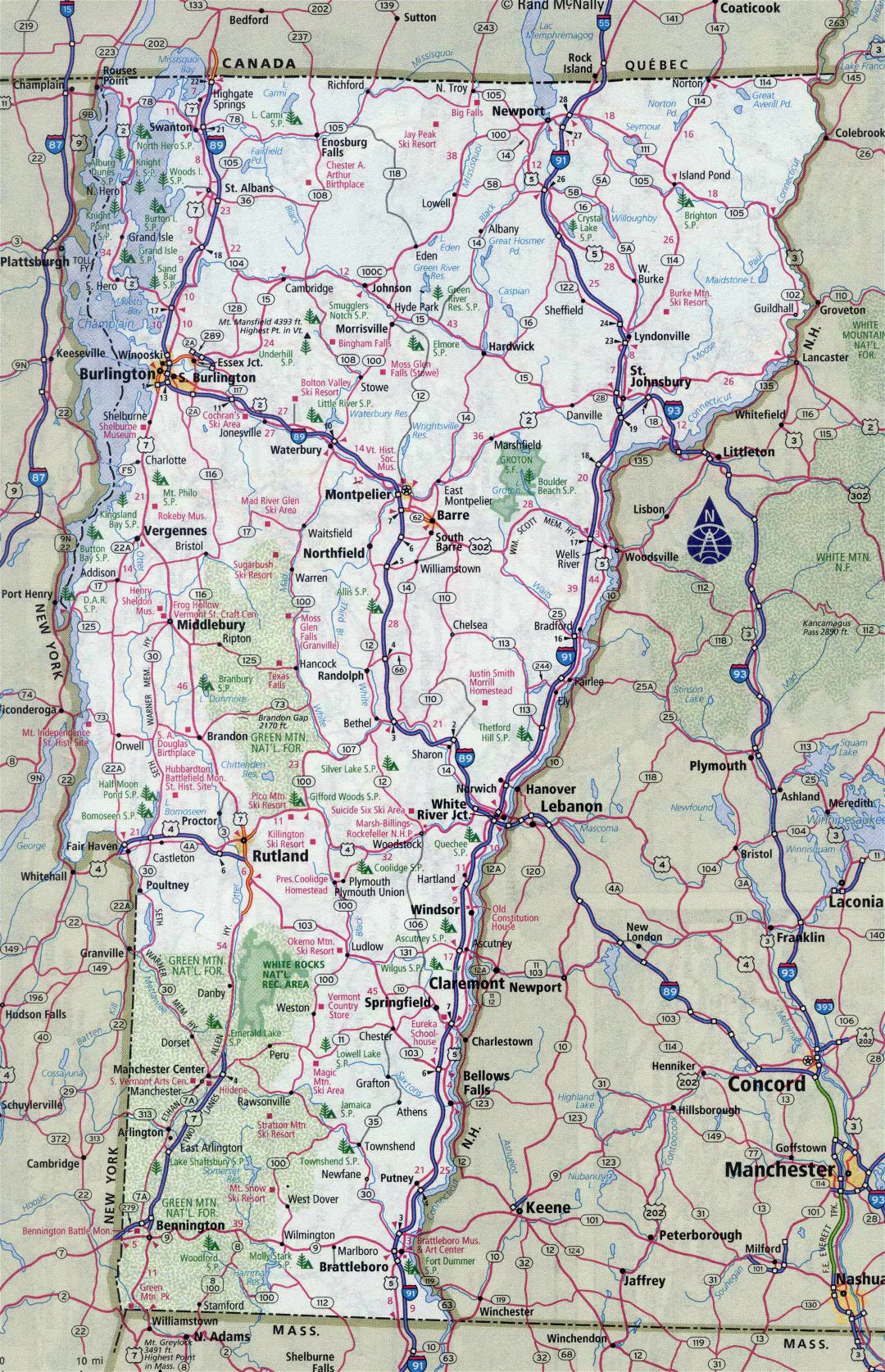 Large detailed roads and highways map of Vermont state with all cities