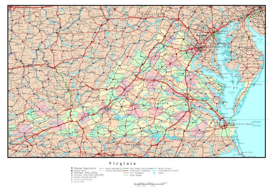 Large detailed administrative map of Virginia state with roads, highways and major cities