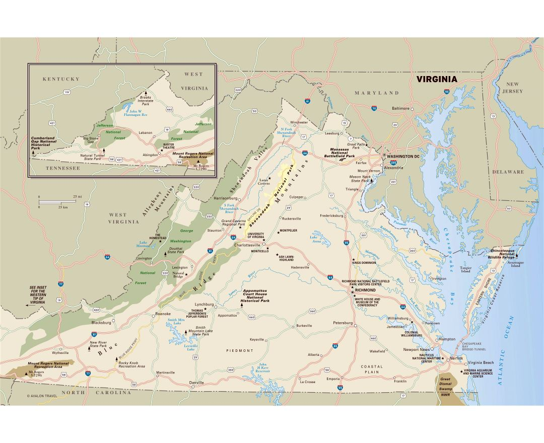 Large detailed map of Virginia state with national parks, highways and major cities