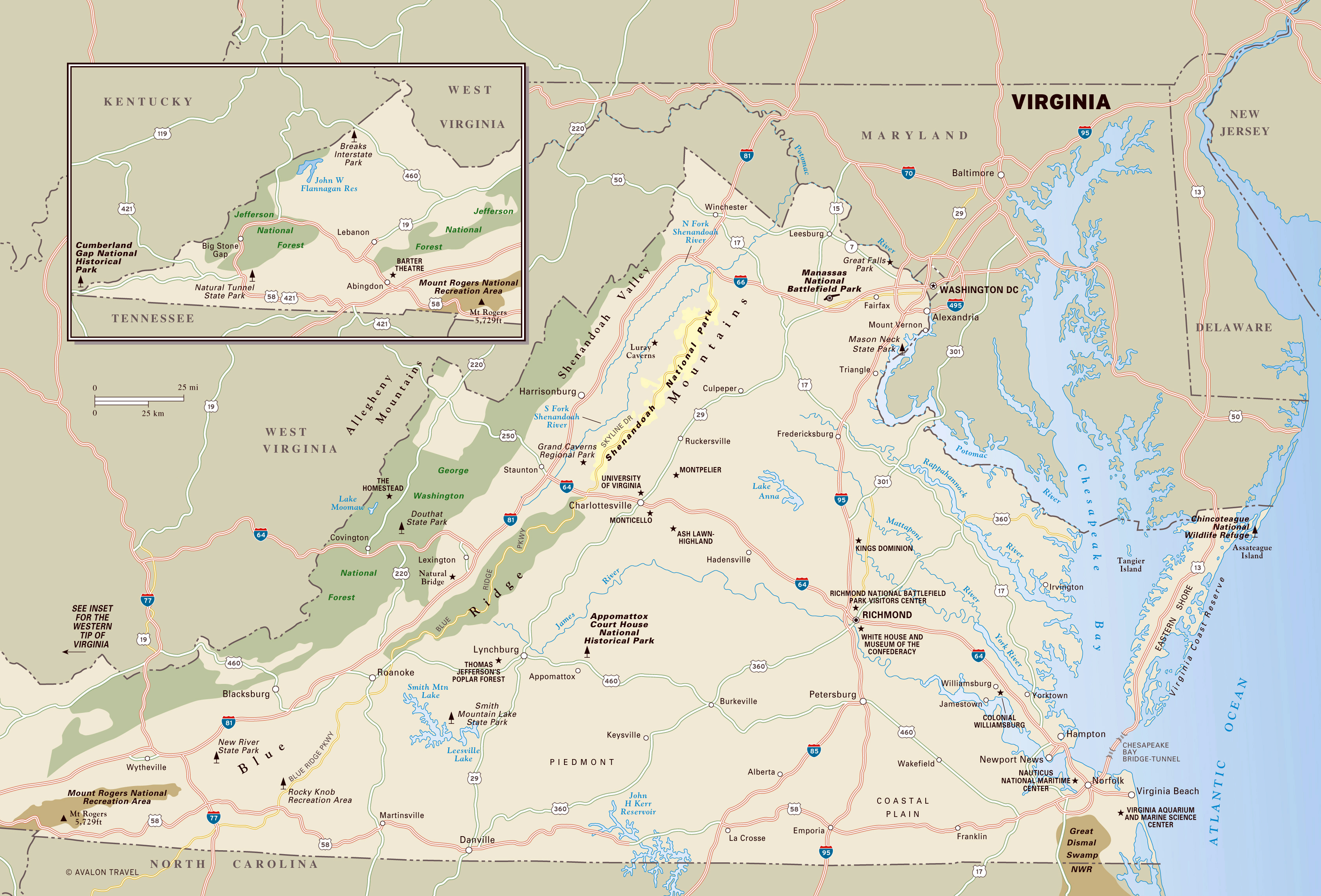 Large detailed map of Virginia state with national parks, highways ...