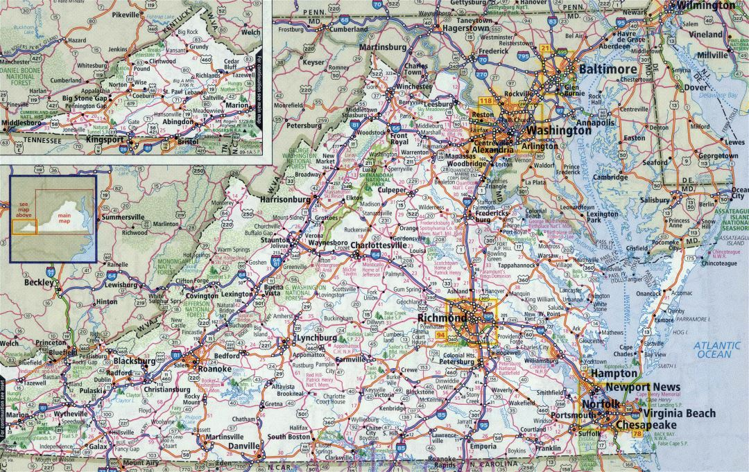 Large detailed roads and highways map of Virginia state with all cities