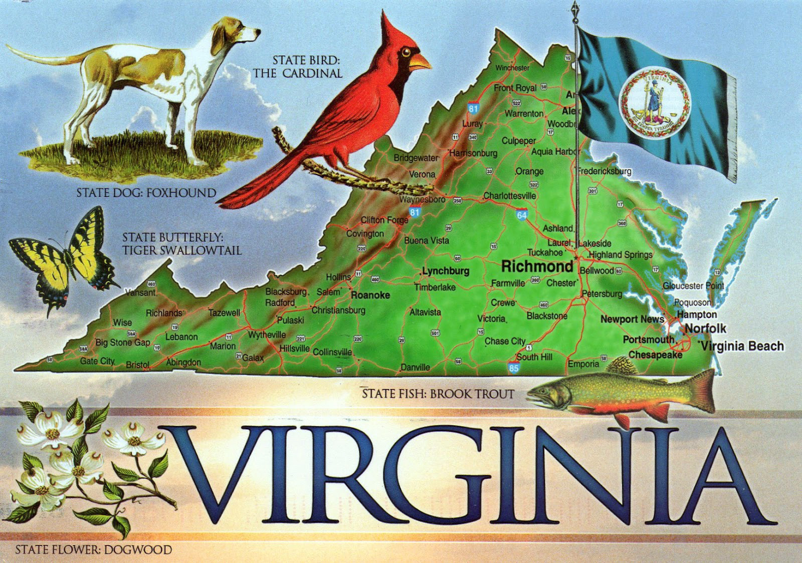 Large tourist illustrated map of the state of Virginia Virginia