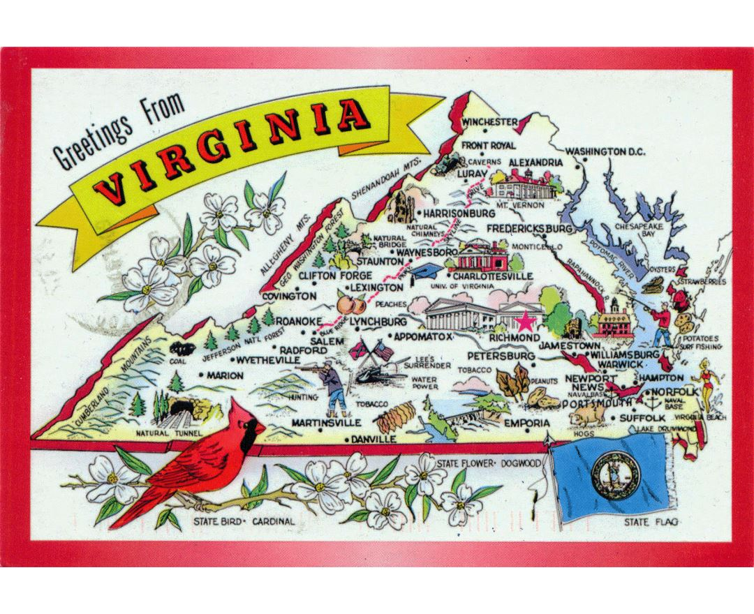 Large tourist illustrated map of Virginia state