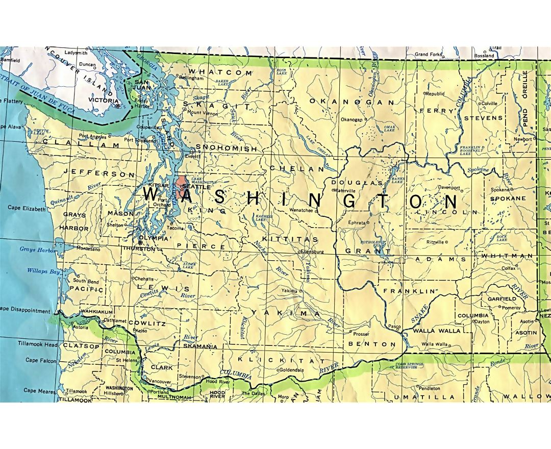 Administrative map of Washington state