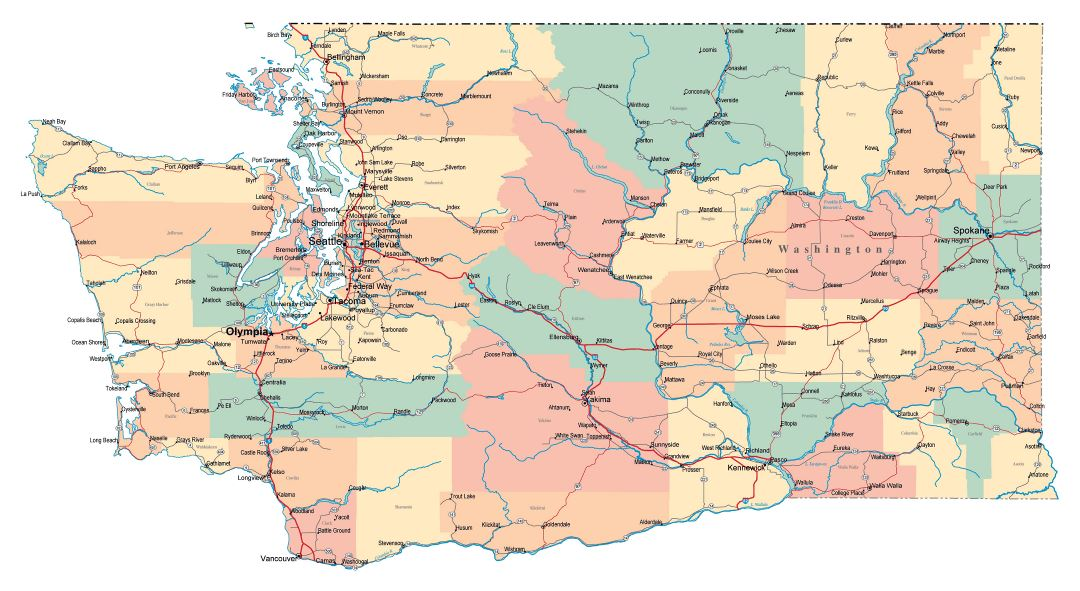 Large administrative map of Washington state with roads, highways and cities