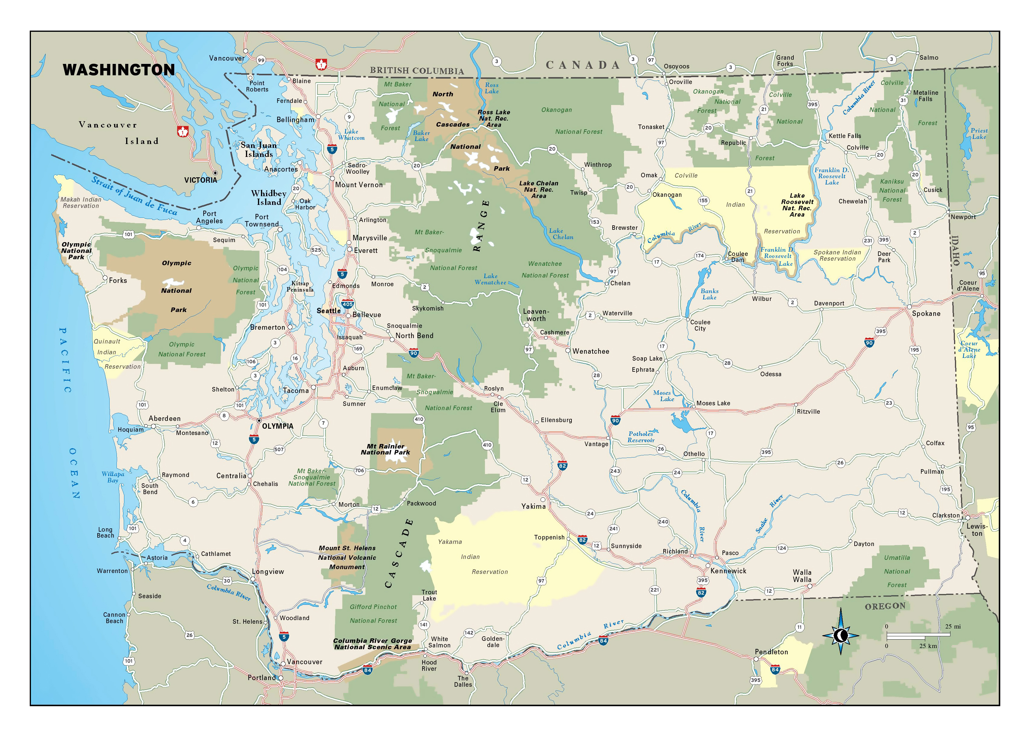 Large detailed map of Washington state with national parks, highways ...