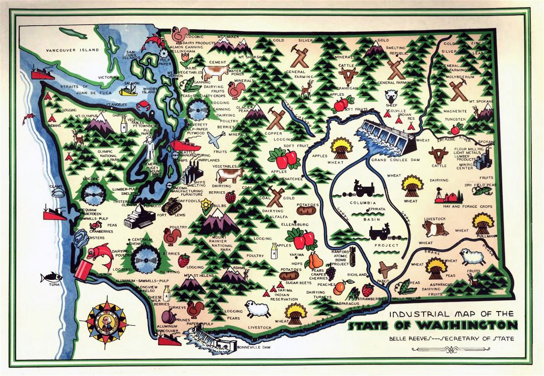 Large detailed old industrial illustrated map of Washington state - 1945