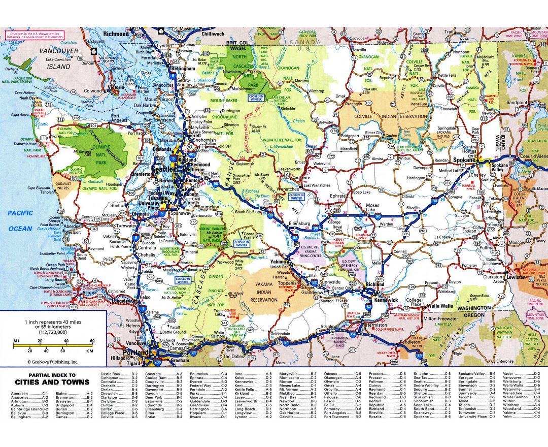 Large detailed roads and highways map of Washington state with all cities and national parks