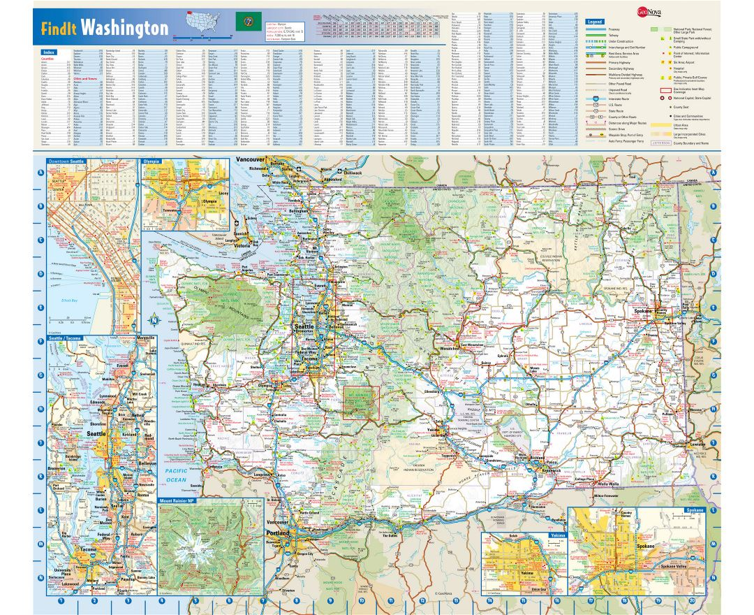 Maps of Washington state Collection of detailed maps of Washington