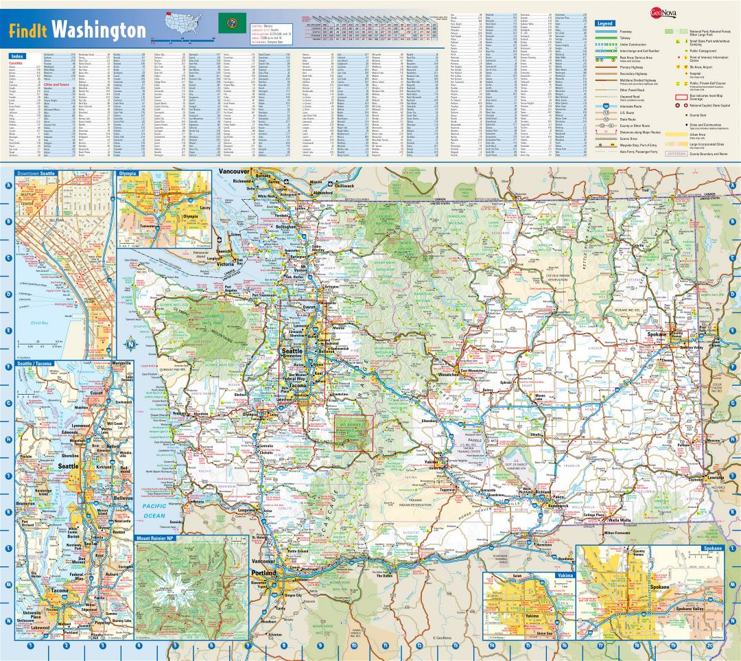 Large detailed roads and highways map of Washington state with national parks, all cities, towns and villages