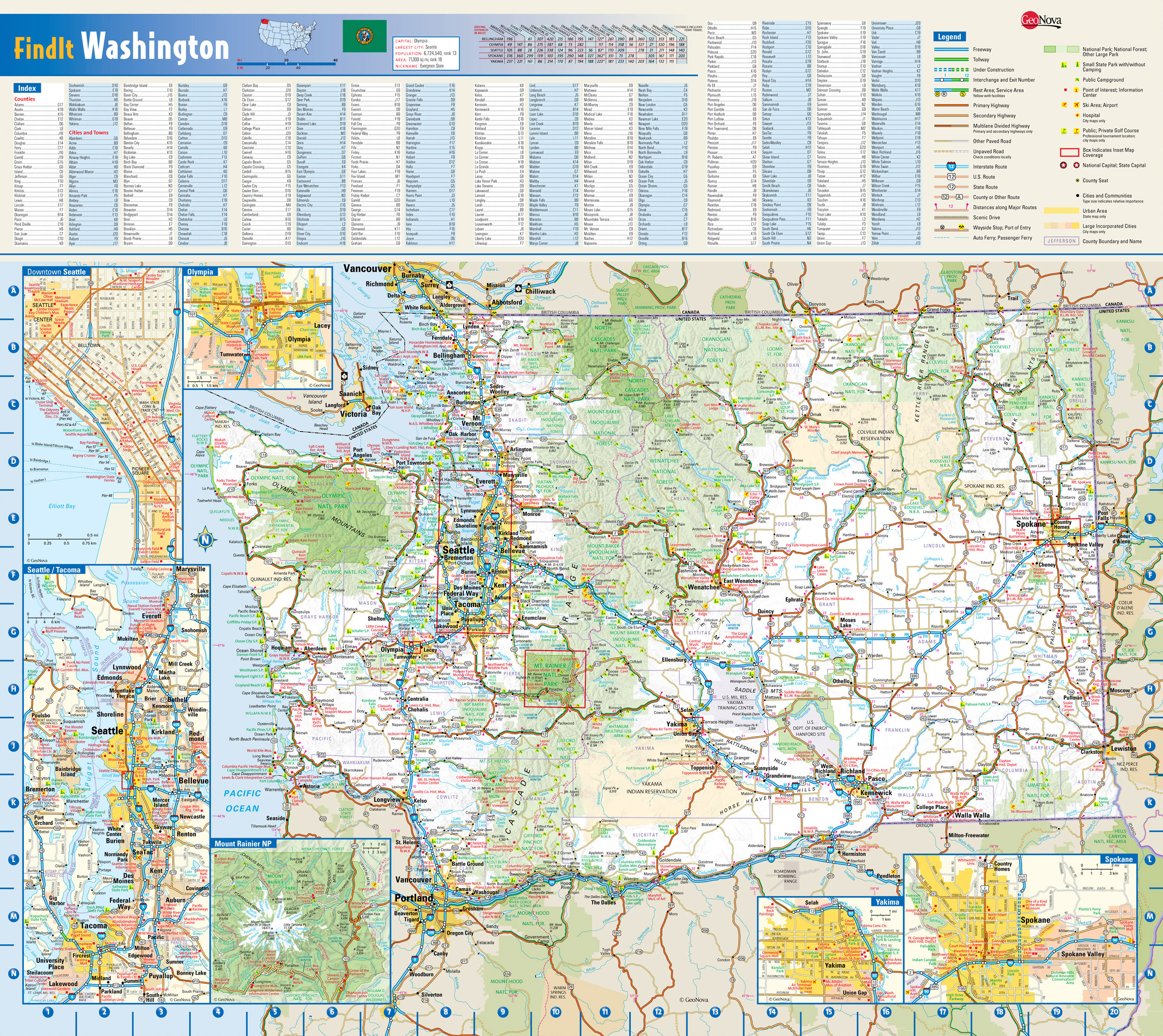 Large detailed roads and highways map of Washington state with