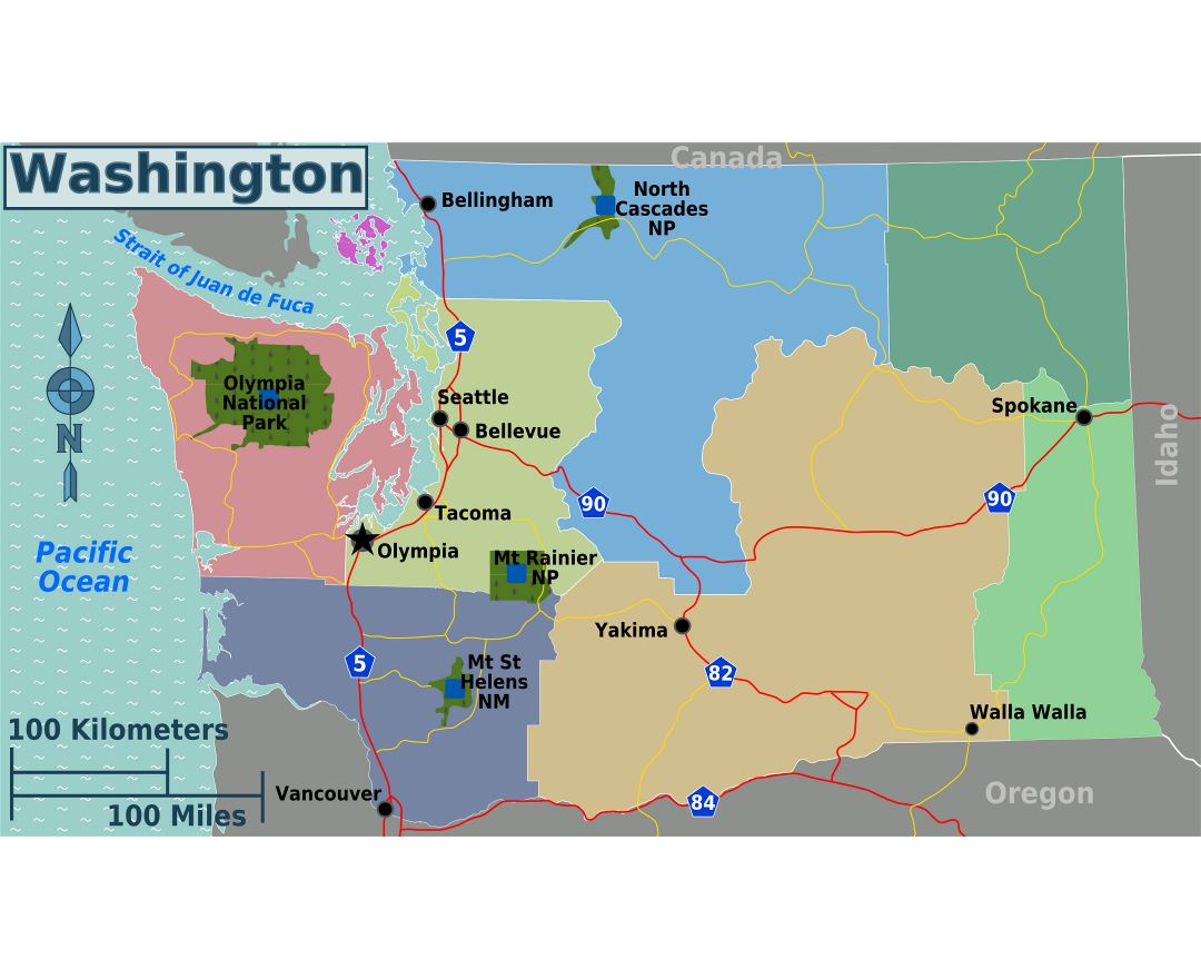 Large regions map of Washington state