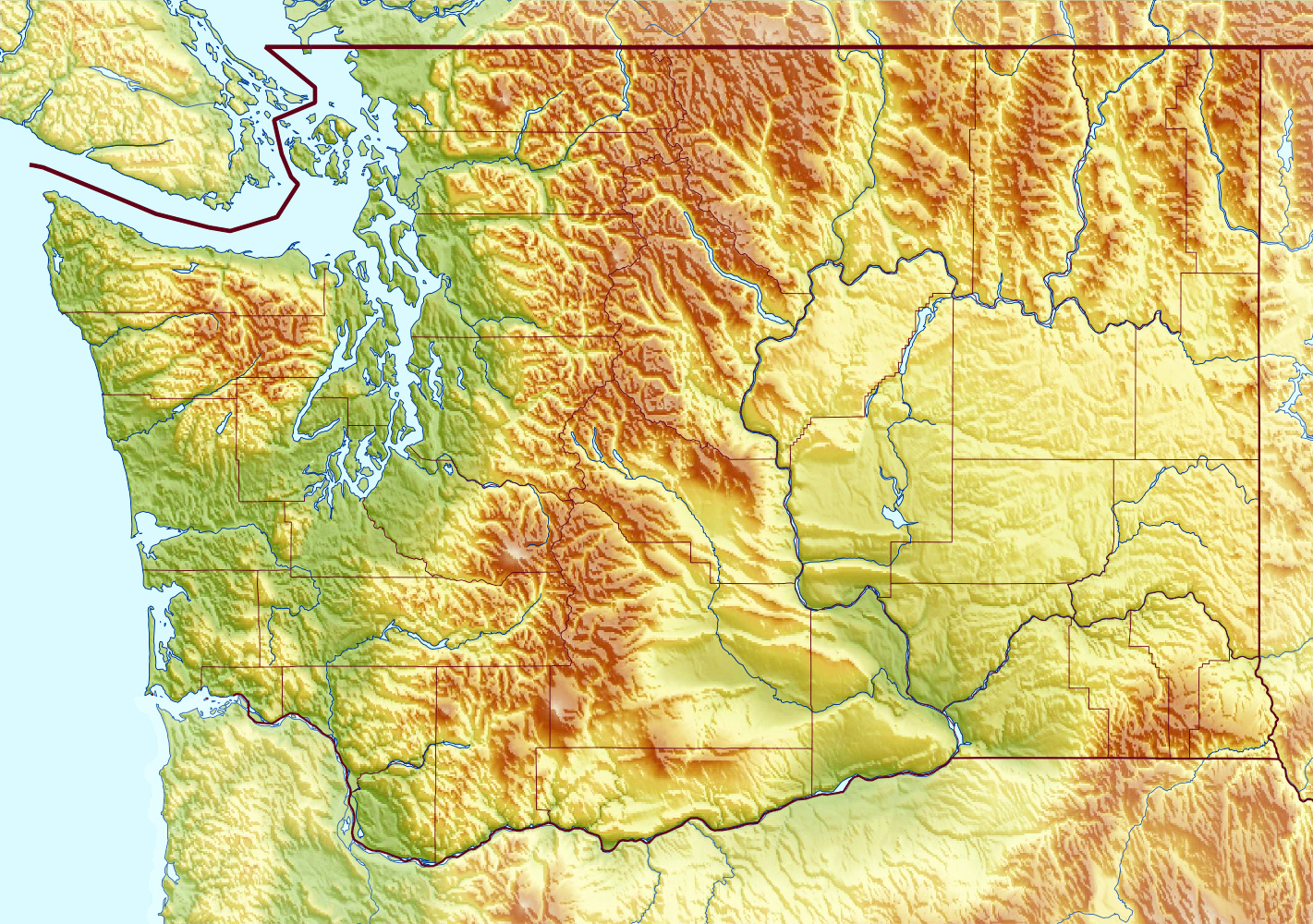 Large relief map of Washington state | Washington state | USA | Maps ...