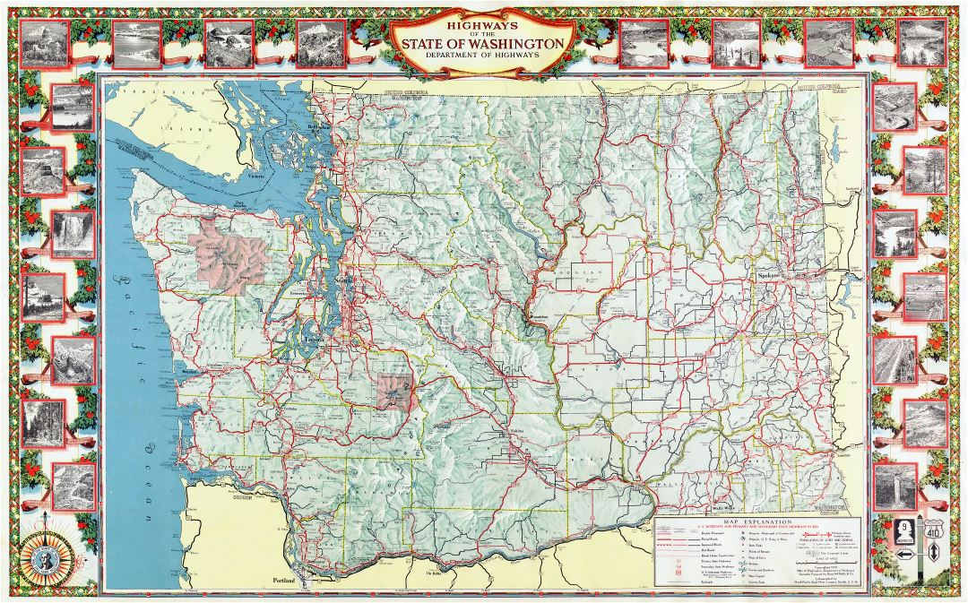 Large scale highway map of the state of Washington with relief and other marks