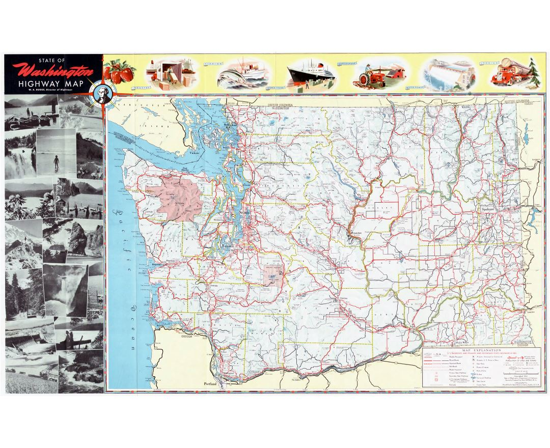 Large scale highway map of Washington state with other marks