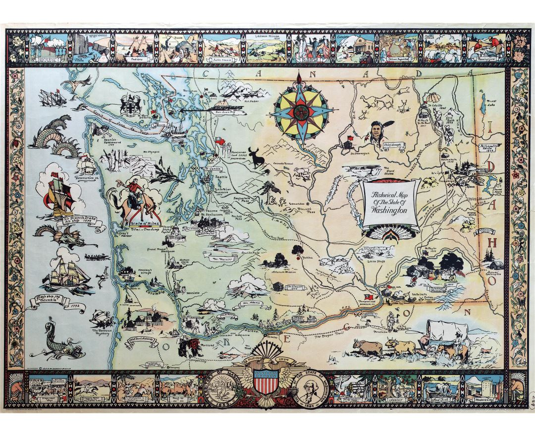Large scale historical illustrated map of the state of Washington