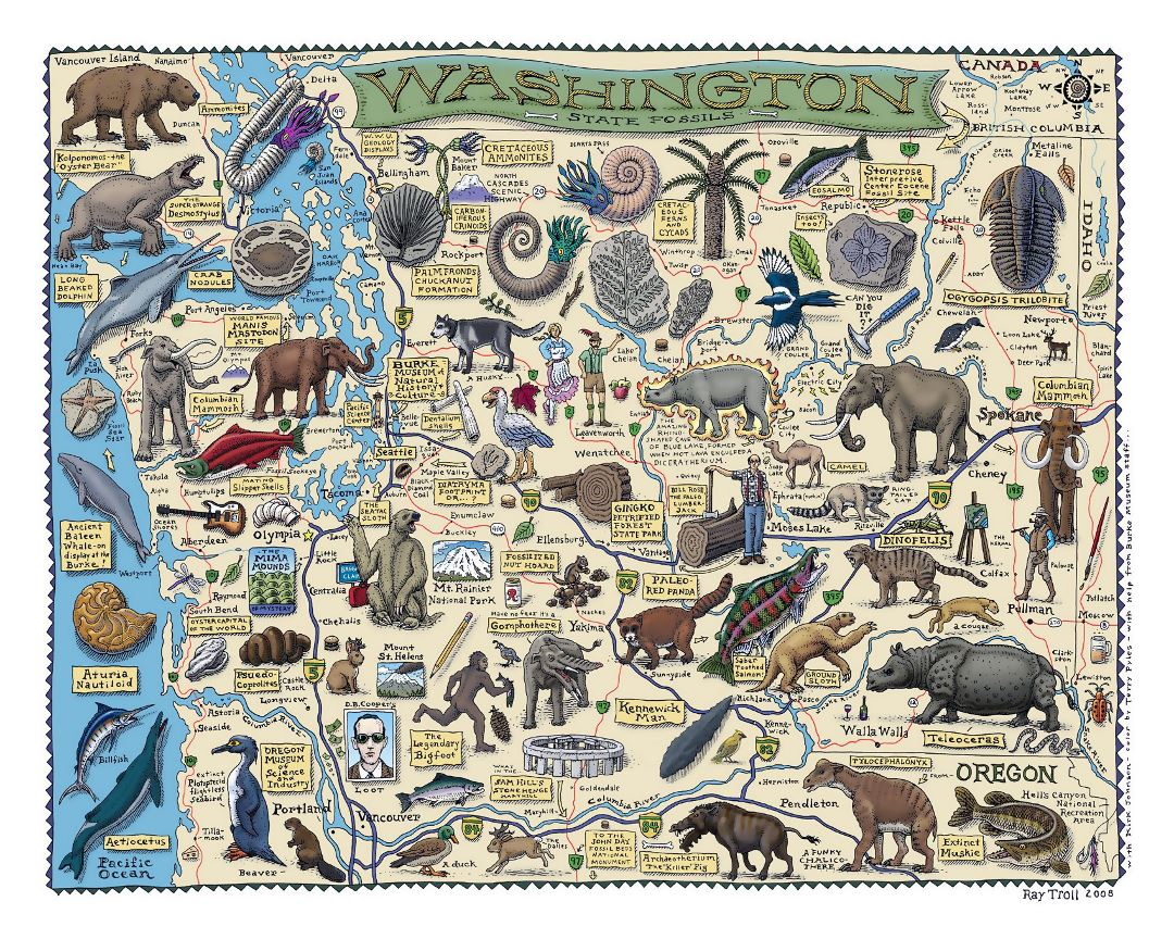 Large tourist illustrated map of Washington state
