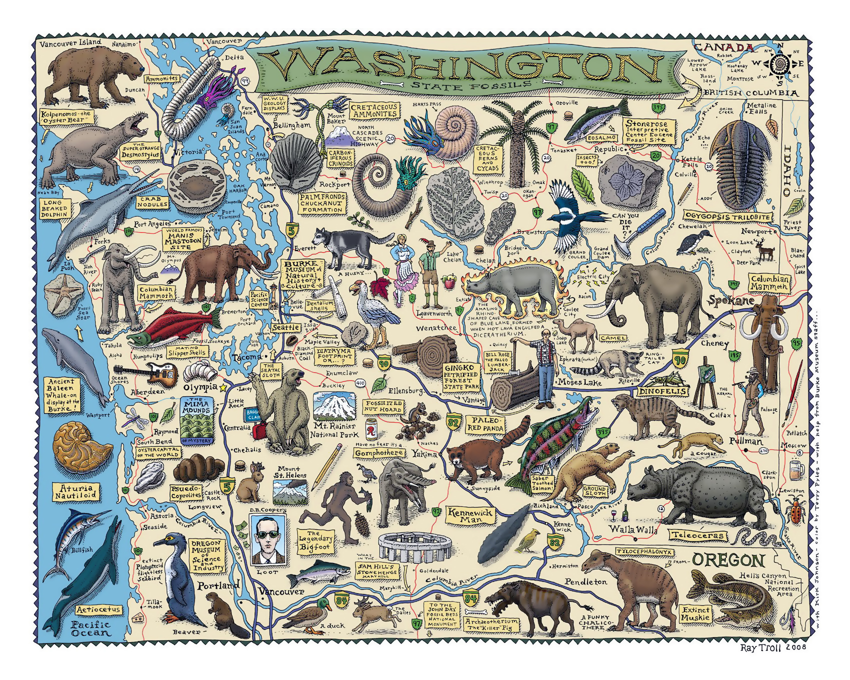 Large tourist illustrated map of Washington state | Washington state ...