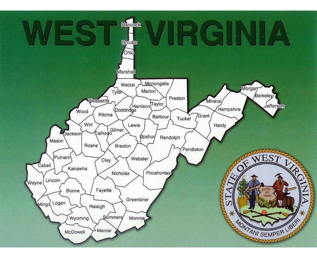 Detailed administrative map of West Virginia state