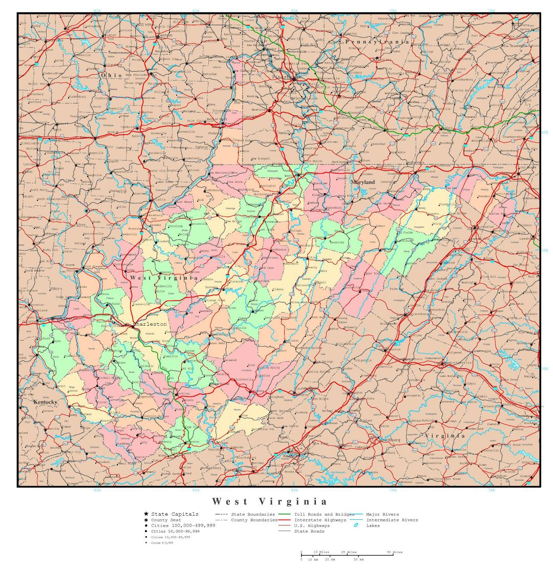 Large detailed administrative map of West Virginia state with roads, highways and major cities