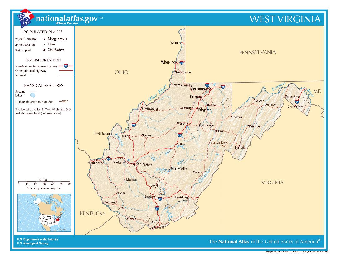 Large detailed map of West Virginia state