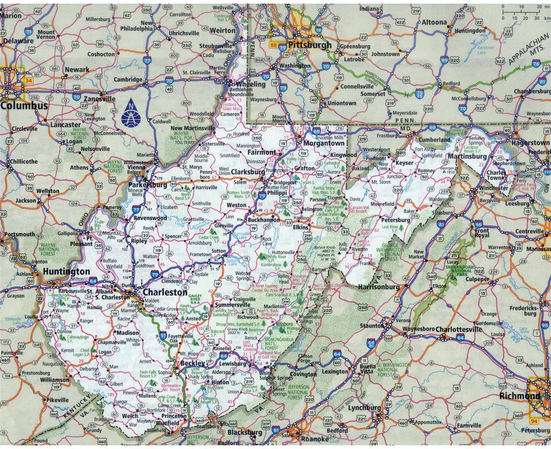 Large detailed roads and highways map of West Virginia state with all cities
