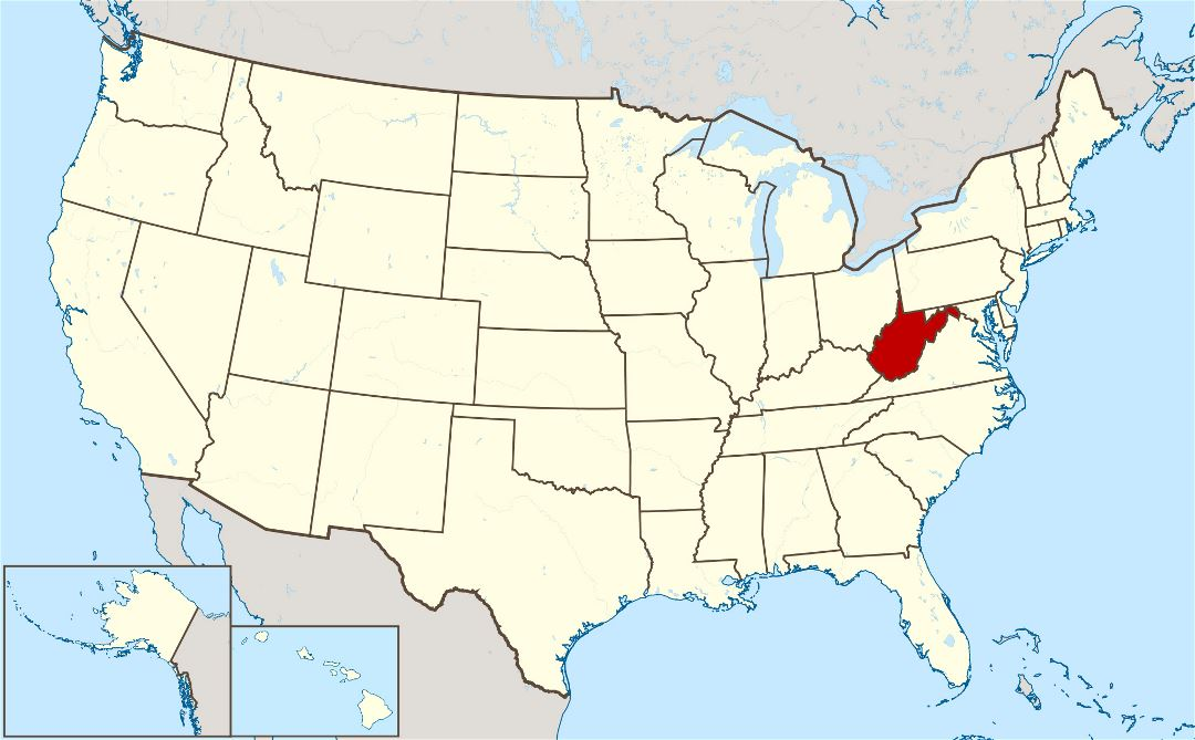 Large location map of the state of West Virginia