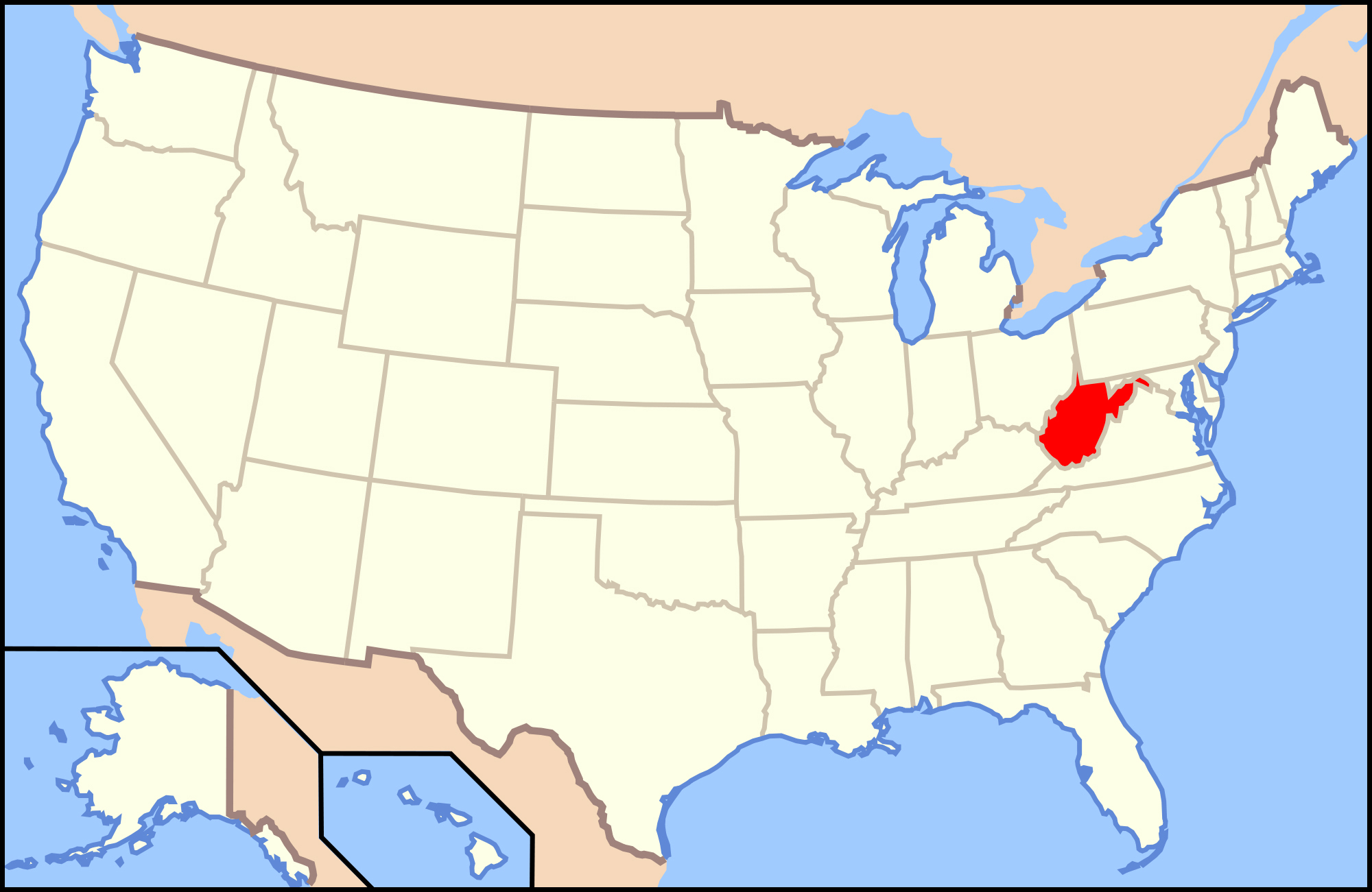 Large location map of West Virginia state West Virginia state
