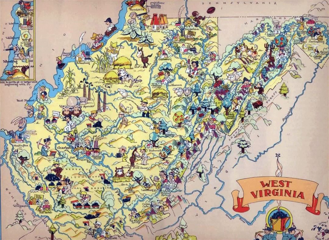 Large tourist illustrated map of the state of West Virginia