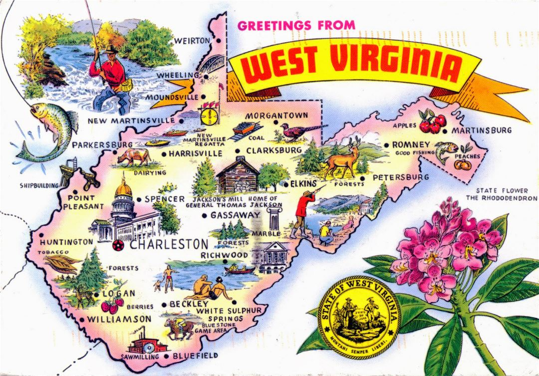 Large tourist illustrated map of West Virginia state