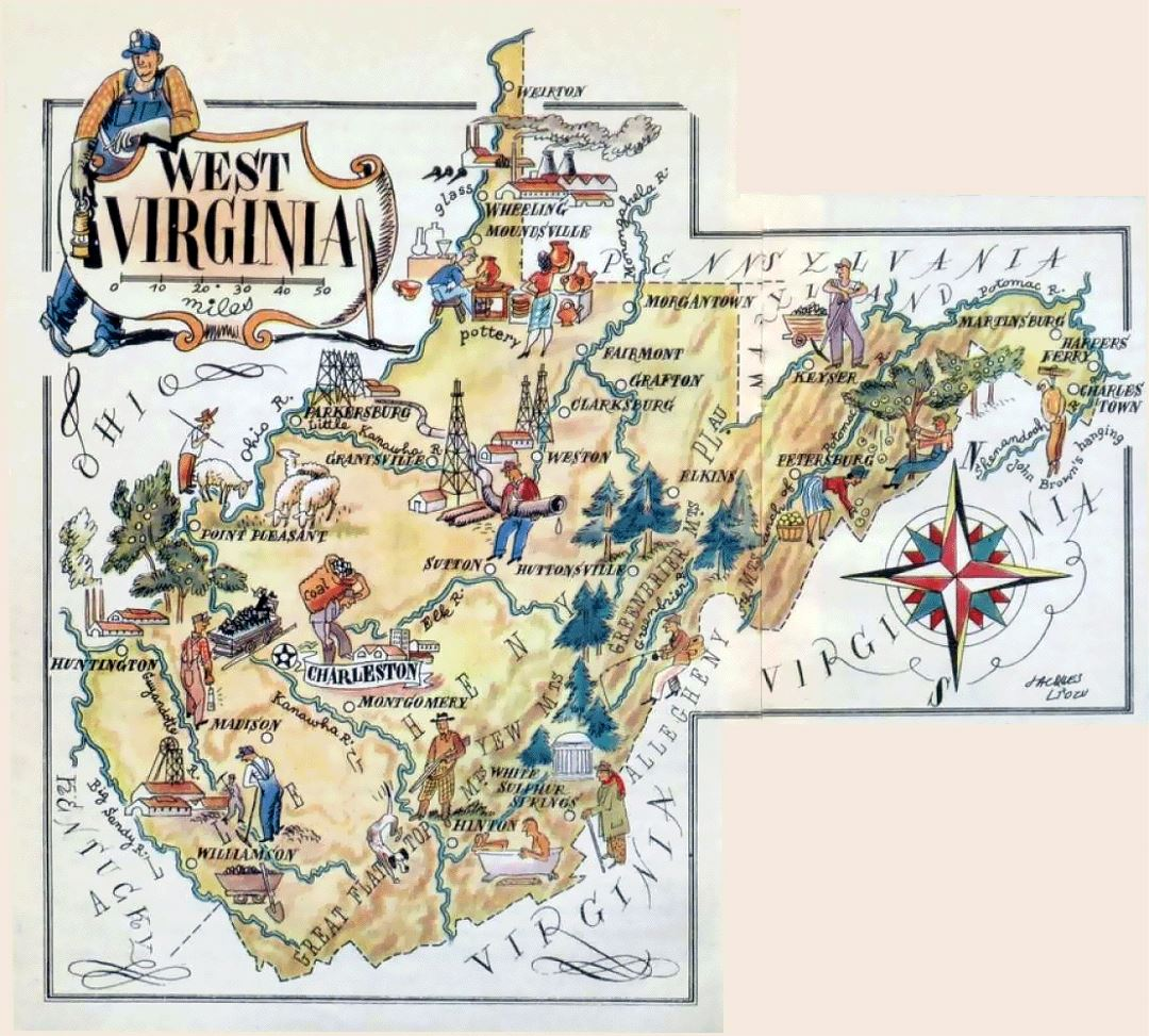 Old illustrated travel map of West Virginia state
