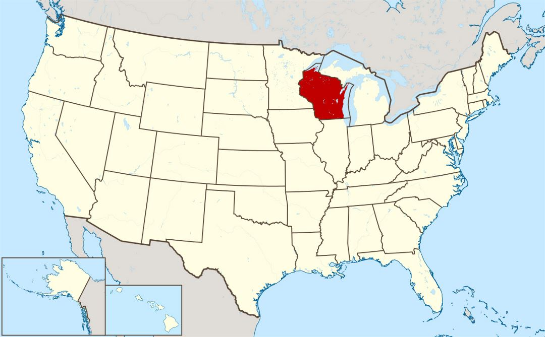 Detailed location map of Wisconsin state