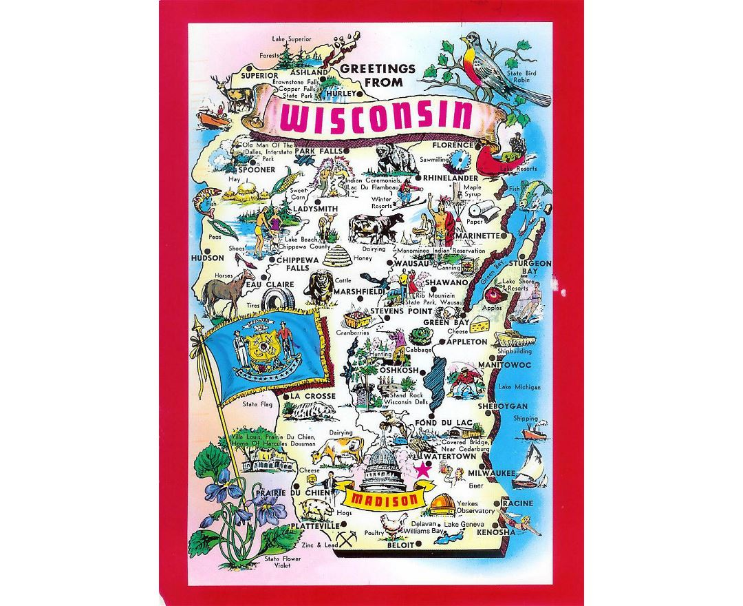 Detailed tourist illustrated map of Wisconsin state