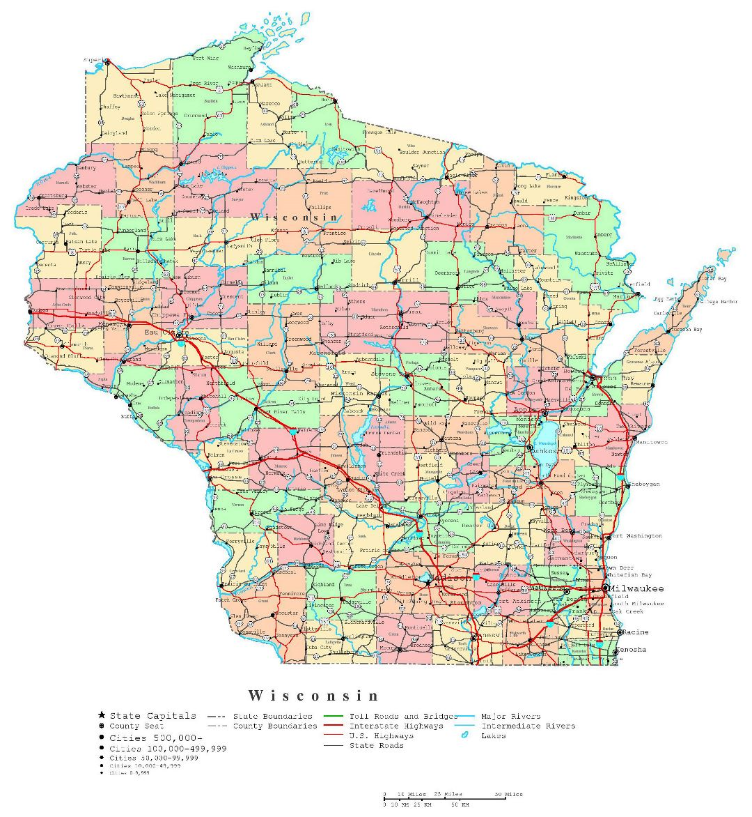 Large detailed administrative map of Wisconsin state with roads, highways and cities