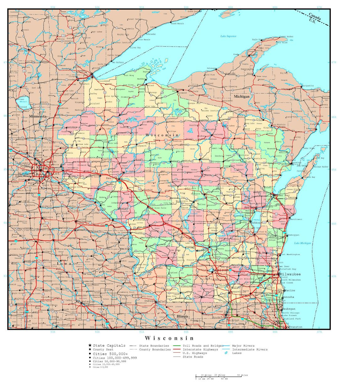 Large detailed administrative map of Wisconsin state with roads, highways and major cities
