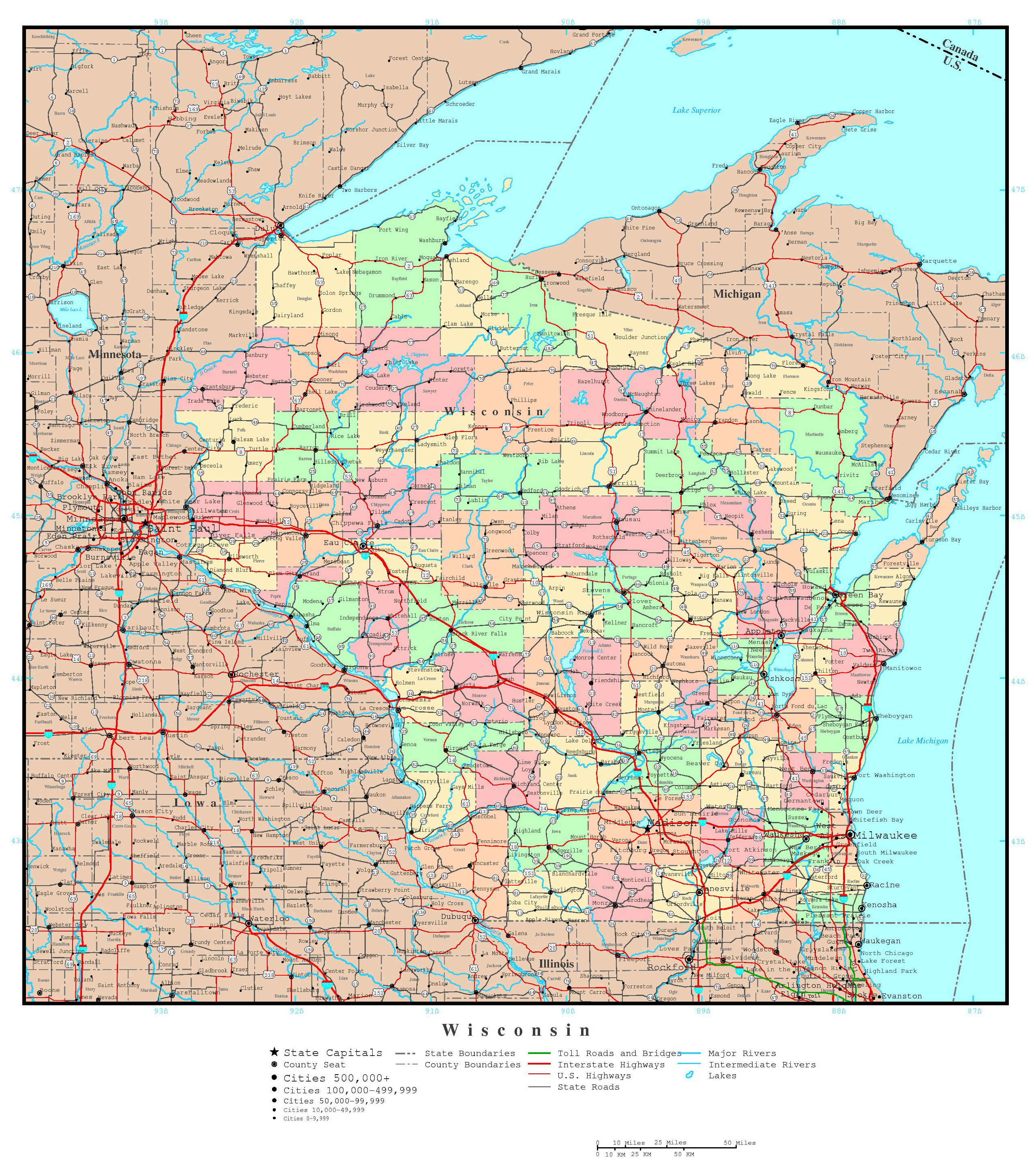 Large detailed administrative map of Wisconsin state with roads