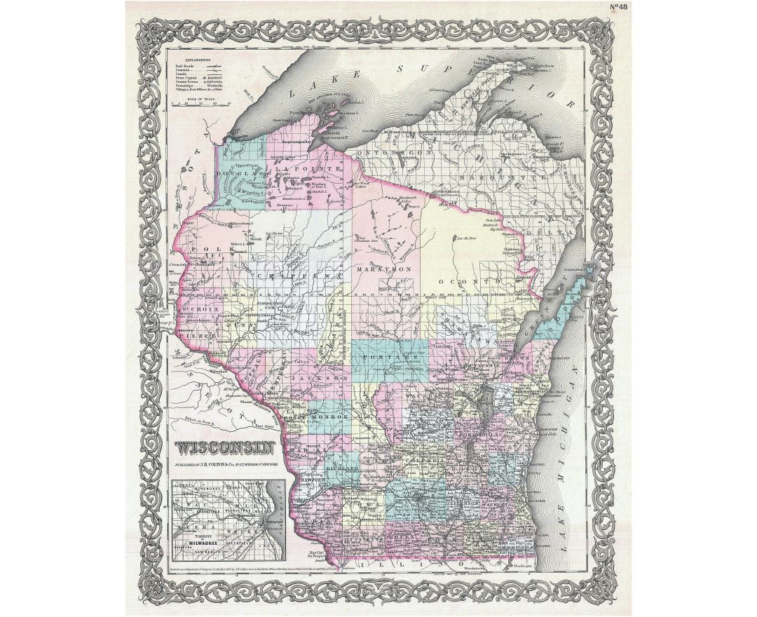 Large detailed old administrative map of Wisconsin state with other marks - 1855
