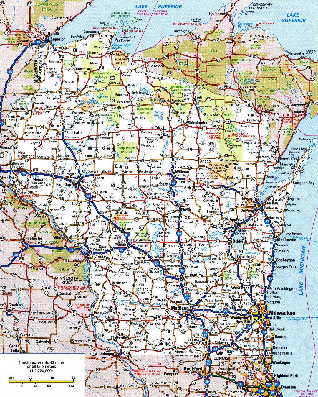 Large detailed roads and highways map of Wisconsin state with all cities and national parks