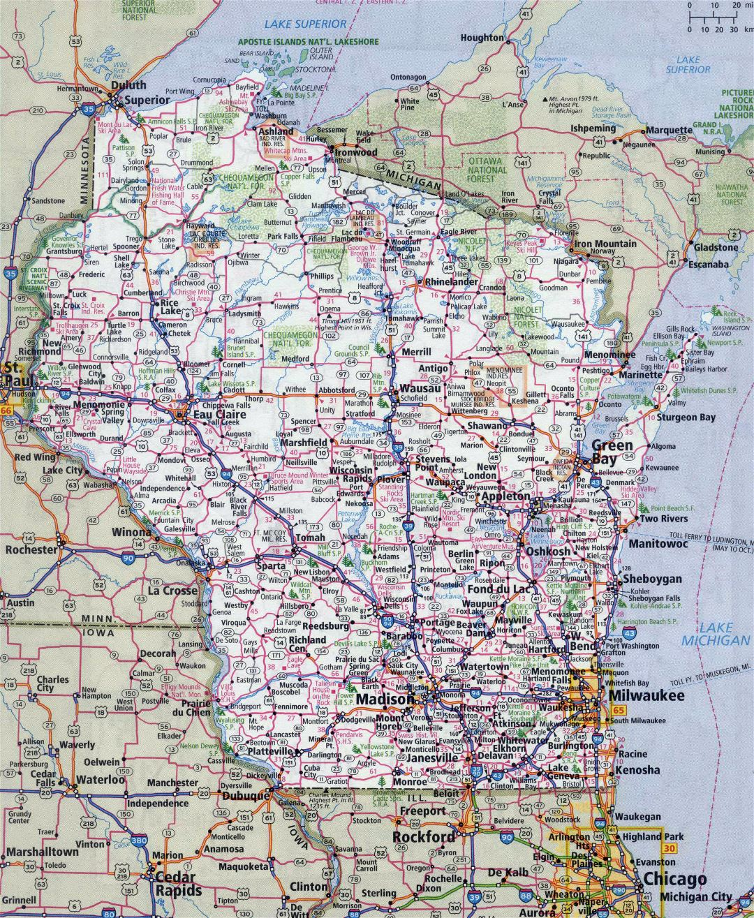 Large detailed roads and highways map of Wisconsin state with all cities